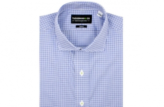 TUCKERMAN TRENT CHECK ORGANIC COTTON, ITALIAN WOVEN DRESS SHIRT